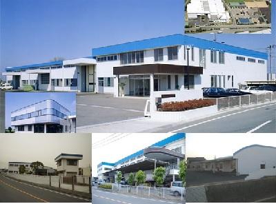 本社第一工場 (上)第二工場(中央下)                  第四工場(左下)第三工場(右下)